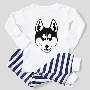 Husky Face White Shirts Toddler Pajamas