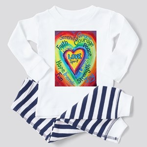 Rainbow Heart Spirit Words Toddler Pajamas