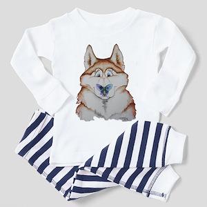 Red Siberian Husky Art Toddler Pajamas