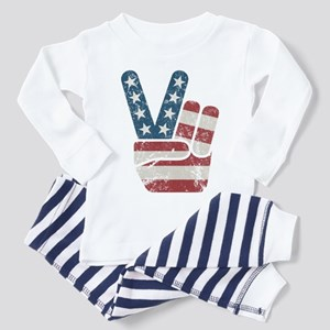 Peace Sign USA Vintage Toddler Pajamas