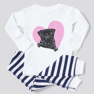 Black Pug Pink Heart Toddler Pajamas