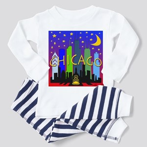 Chicago Skyline nightlife Toddler Pajamas