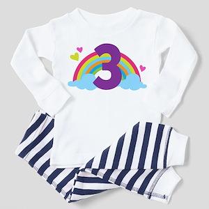 3rd Birthday Rainbow N Hearts Toddler Pajamas