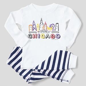 Cute Chicago Skyline Toddler Pajamas