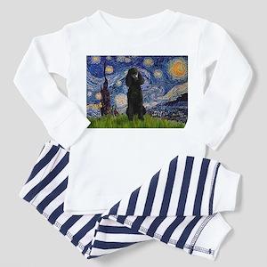 Starry Night Black Poodle Toddler Pajamas