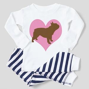 french bulldog & heart Toddler Pajamas
