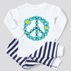 Smiley face flower peace sign Baby Pajamas