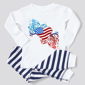 July 4th Heart Scroll Toddler Pajamas