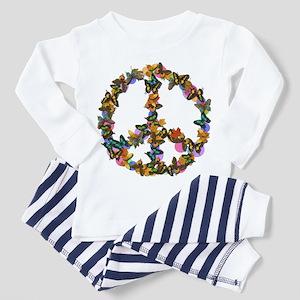 Butterflies Peace Sign Toddler Pajamas