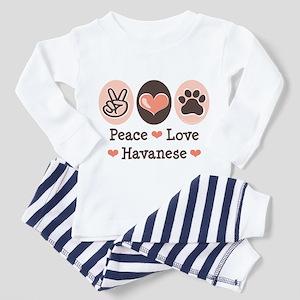 Peace Love Havanese Toddler Pajamas