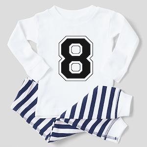Varsity Font Number 8 Black Toddler Pajamas