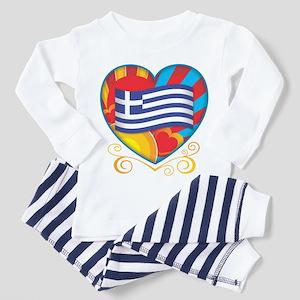 Greek Heart Toddler Pajamas