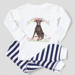 Doberman Flowers Toddler Pajamas
