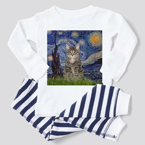 Starry Night & Tiger Cat Toddler Pajamas