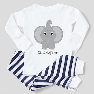 Personalized Elephant Design Toddler Pajamas