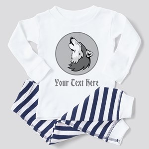 A Wolf Howling. Gray Text. Toddler Pajamas