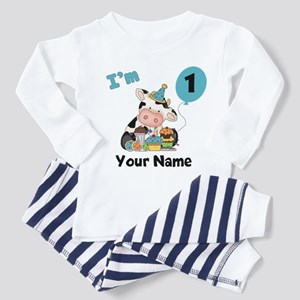 First Birthday Boy Cow Toddler Pajamas