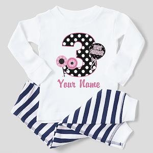3rd Birthday Pink Black Dots Toddler Pajamas