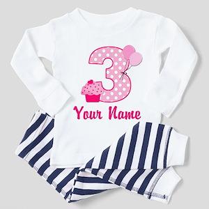 3rd Birthday Pink Cupcake Toddler Pajamas