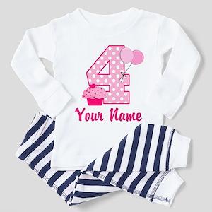 4th Birthday Pink Cupcake Toddler Pajamas