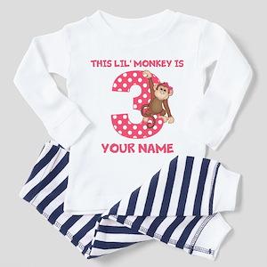 3rd Birthday Monkey Girl Toddler Pajamas
