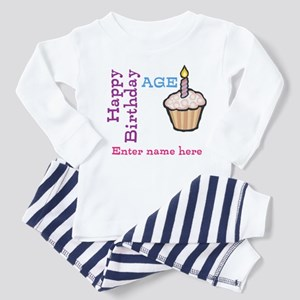Personalized Birthday Cupcake Toddler Pajamas