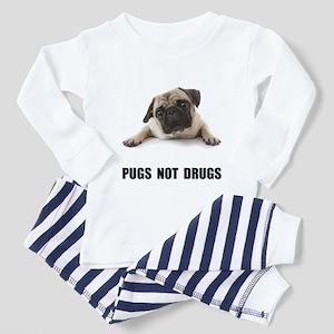 Pugs Not Drugs Black Toddler Pajamas