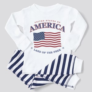 American Flag, 4th of July Toddler Pajamas