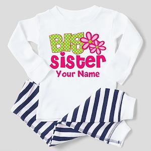Big Sister Pink Green Personalized Pajamas