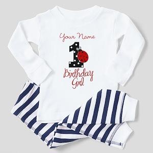 1 Ladybug Birthday Girl - Your Name Pajamas