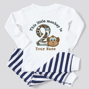 2nd Birthday Monkey Personalized Toddler Pajamas