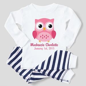 Pink Owl CUSTOM Baby Name Birthdate Pajamas