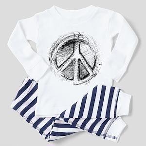 Grunge Urban Peace Sign Ash Grey Pajamas