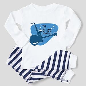 The Blues Retro Guitar Saxophone Pajamas