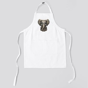 Cute Baby Elephant Calf with Reading Gl Kids Apron