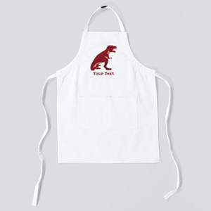 Red T-Rex Dinosaur with Custom text Kids Apron