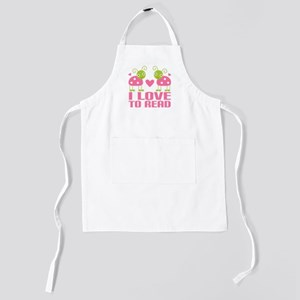 i love to read pink ladybugs Kids Apron