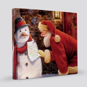 Santa Reading Note 8x8 Canvas Print