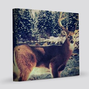 forest camo white tail deer 8x8 Canvas Print