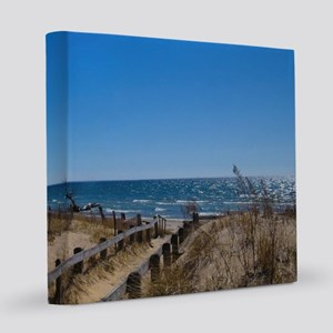 Beach walkway 8x8 Canvas Print