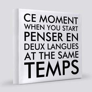 Thinking in French and English 8x8 Canvas Print