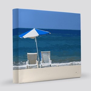 Beach Chairs and Umbrella 8x8 Canvas Print