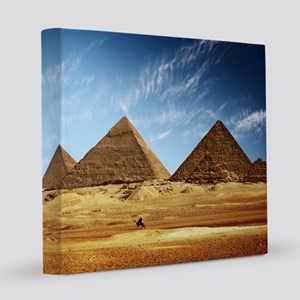 Egyptian Pyramids and Camel 8x8 Canvas Print