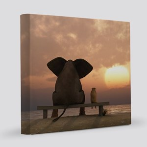 Elephant and Dog Friends 8x8 Canvas Print