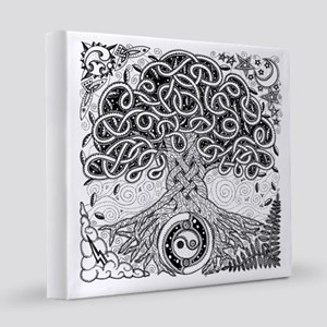 Celtic Tree of Life Ink 8x8 Canvas Print