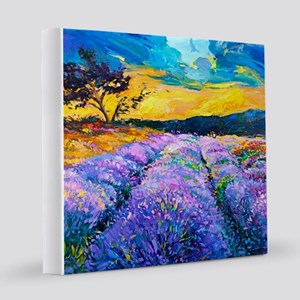Lavender Fields Painting 8x8 Canvas Print