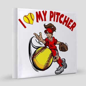 I love my pitcher, red 8x8 Canvas Print