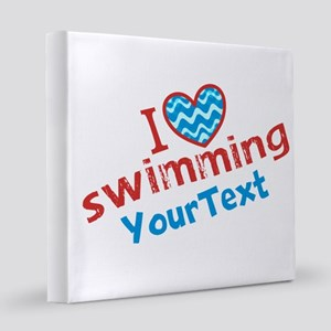 CUSTOMIZE I Love Swimming 8x8 Canvas Print