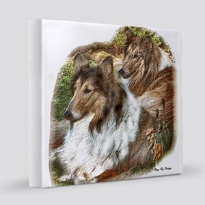 Rough Collie Art 8x8 Canvas Print