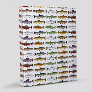 14 Trout and Salmon Pattern cp 8x10 Canvas Print